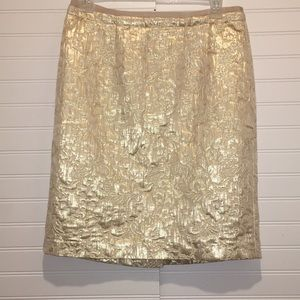 Ann Taylor LOFT skirt color cream and gold